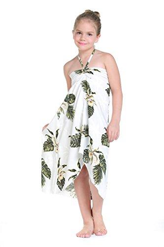 Girl Hawaiian Halter Dress in Palm Green Leaf