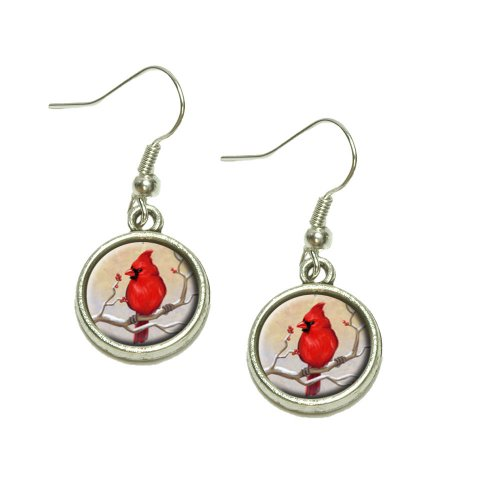 Cardinal in Winter Dangling Drop Charm Earrings