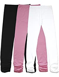 Girl's Knit Cotton Stretch School Uniform Lace Antistatic Legging 3 Pack