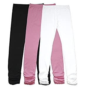 Bienzoe Girl's Knit Cotton Stretch School Uniform Antistatic 3 Leggings Pack