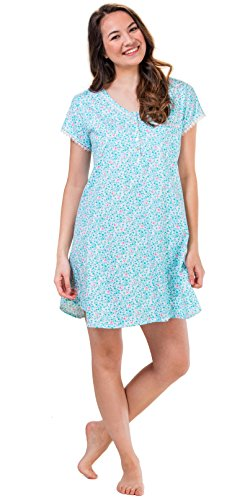 Eileen West V-Neck Cotton Knit Short Sleeve Sleepshirt In Floral Harbor (White/Aqua/Pink, (Sleeve Floral Nightshirt)