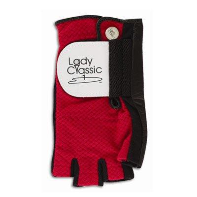 Lady Classic Cabretta 1/2 Finger Golf Glove Red Large RH   B007GCKI0W