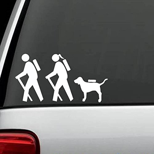 Bluegrass Decals Hiker Couple Guy Girl with Dog Hiking Camper Camping Decal Sticker ()