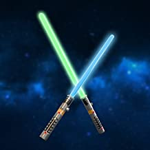 Laser Sword Double Light Saber Star War LED Lightsaber Fighters Galaxy Warriors, 2 in 1, Special Party Favor Set for Birthday, Easter with Light and Sound Effect