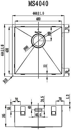 Fregadero Cocina de Acero Inoxidable/Pila de Fregadero MIZZO Quadro 40-40 Fregadero Bajo Encimera/Sobre Encimera Cocina – Fregadero Cuadrado de Acero Inoxidable - Cubeta de 40 x 40cm: Amazon.es: Bricolaje y herramientas