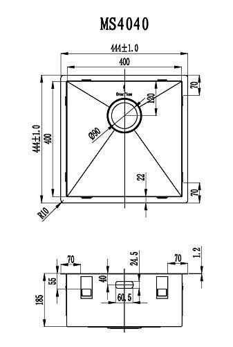 /évier acier inoxydable 40*40cm Cuve inox de cuisine carr/é Sous plan Evier de cuisine en inox Mizzo Design 40-40 Affleurant