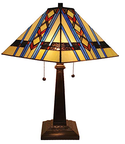 Tiffany Style Table Lamp Banker Mission 21 Tall Stained Glass Blue Tan Brown Green Vintage Antique Light D cor Nightstand Living Room Bedroom Office Handmade Gift AM238TL14 Amora Lighting