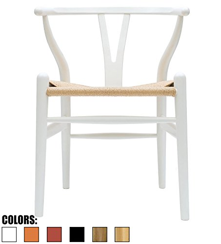 2xhome White – Wishbone Wood Arm Chair Armchair Modern White with Natural Woven Seat Dining Room Chair 41OyZ82dIcL