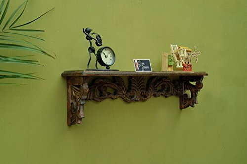 Onlineshoppee Tallado Hand Carved Solid Wood Wall Shelf