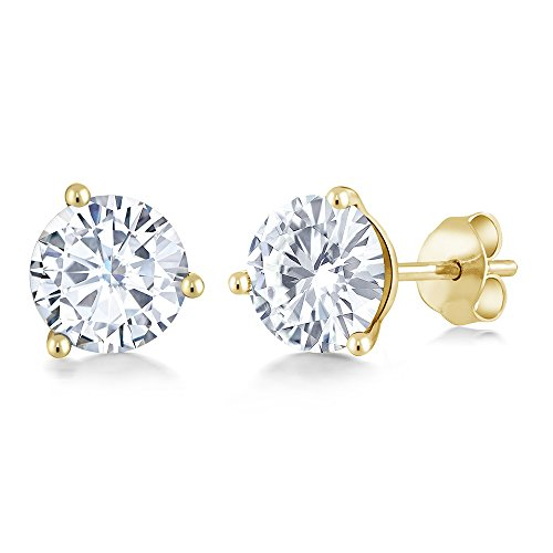(Charles & Colvard Forever Classic 6mm 1.60cttw DEW White Created Moissanite 14K Yellow Gold Friction Back Round Martini Stud Earrings)