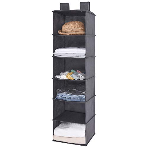 GRANNY SAYS Hanging Closet Organizers, Fabric Hanging Closet Shelf, Storage for Jeans, Sweaters, Accessories, Gray, 6 Shelves, 12x11.4 x41