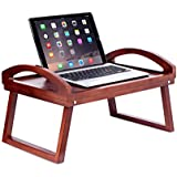 BirdRock Home Wooden Lap Desk Bed Tray | Breakfast Bed Tray with Wide Grip Handles | Folding Legs | Food Drink Snack Serving Bed Tray Table | Antique Walnut (Dark Brown) Finish