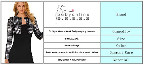 Babyonline Women Colorblock V Neck Long Sleeve Business Party Bodycon Dress