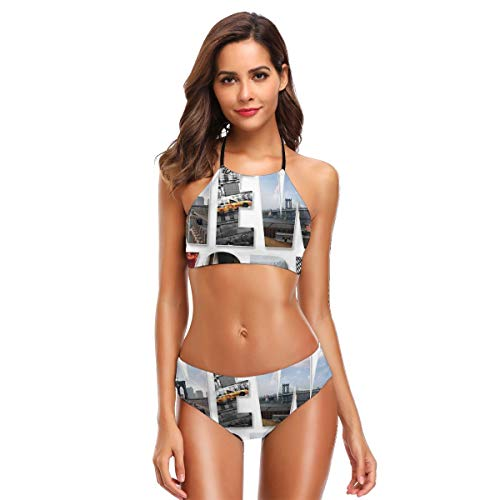 (Women's Two Piece Bikini Swimsuits,New York City Collage Featuring with Different Areas of The Big Apple Manhattan XL)
