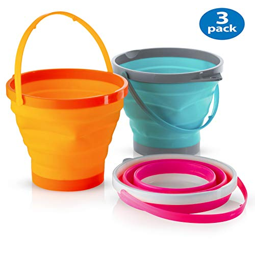 - Foldable Pail Bucket Collapsible Buckets Multi Purpose for Beach, Camping Gear Water and Food Jug, Dog Bowls, Cats, Dogs and Puppys, Camping and Fishing Tub, (Half Gallon)