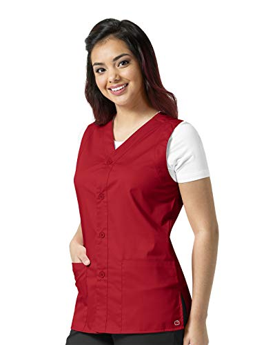- WonderWork Unisex Button Front Solid Scrub Vest X-Large Red