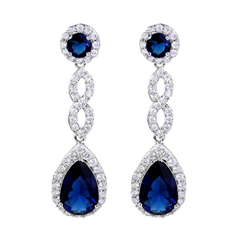 ubic Zirconia 8 Shape Infinity Bridal Pierced Dangle Earrings Blue Silver-Tone ()