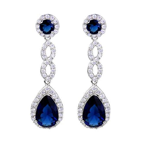 - EVER FAITH Women's Cubic Zirconia 8 Shape Infinity Bridal Pierced Dangle Earrings Blue Silver-Tone