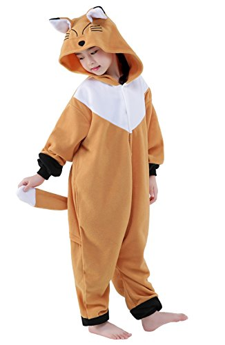 CANASOUR Unisex Halloween Onesie Kids Party Children Cosplay Pyjamas (115#(Size 8), Brown Fox) ()