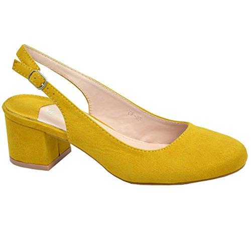Cucu Fashion New Womens Low Block Heel Pumps Ladies Sling Back Buckle Shoes Size UK 3-8 Yellow