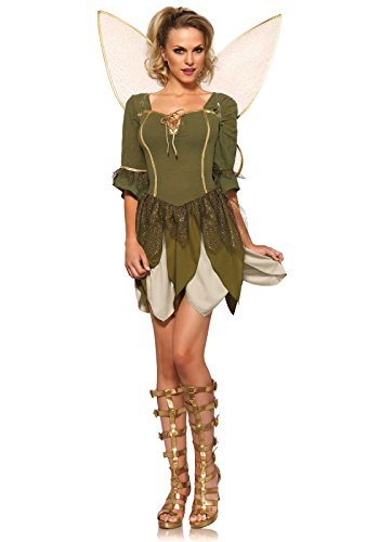 [Leg Avenue Women's 2 Piece Rebel Tink Fairy Costume, Green, X-Small] (Tinkerbell Fairy Costumes For Women)