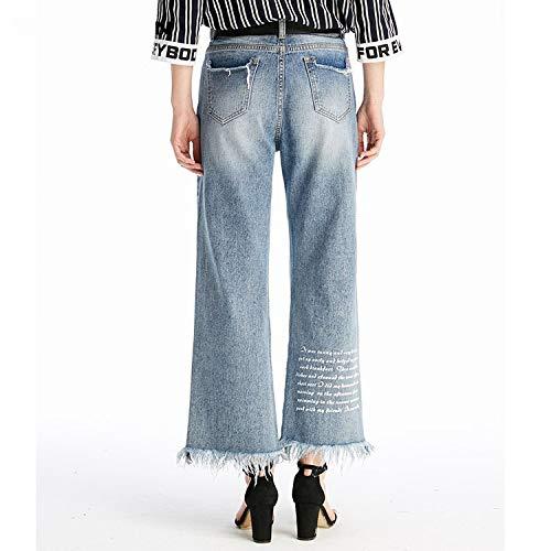 Xl Vita Gambe Larghe Jeans Mvguihzpo Pantaloni Buchi Azzurro E Donna Jeans 4HvfHWIUq