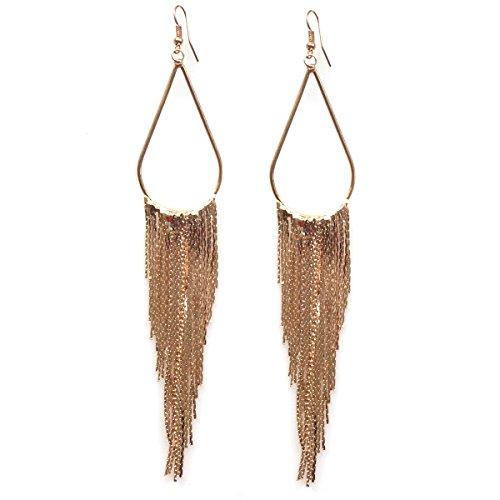 Tassel Fringe Earring 70's Retro Long Hoop Earrings for Mother's Day Gift
