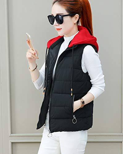 Veste capuche matelassée doudoune rembourrée veste noire sans élégante manche légèrement pour femmes avec PPdOwqr