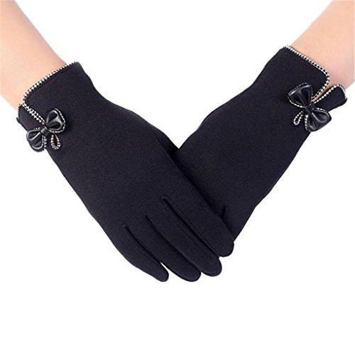 haoricu Women Gloves, Fashion Autumn Winter Bow-Knot Ladies Outdoor Sport Warm Gloves (Black)