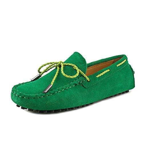 ShenDuo Damen Leder Mokassins mit Binden Casual Slipper Sommer Schuhe D7051 Grün