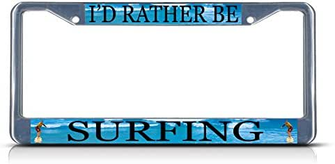 I/'D Rather Be In The Caribbean Black Metal License Plate Frame Tag Holder
