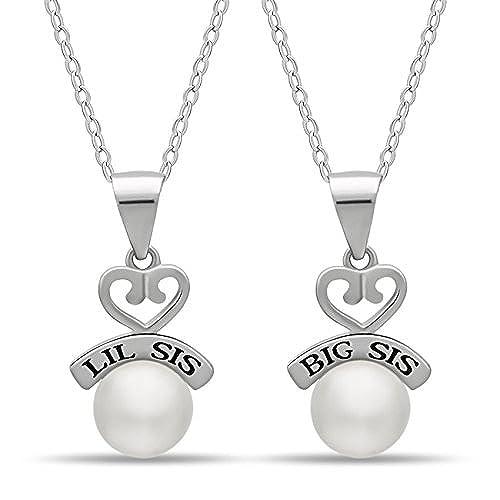9c81d1eb08c5 Bueno wreapped 925 plata hermana Corazón Collar De Big Sis Lil Sis –  grabado chapado en plata perla cultivada de corazón collares para dos  hermanas collares ...