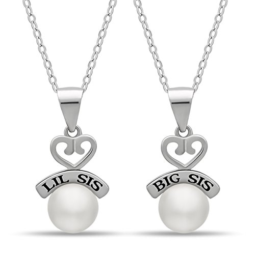 Shell Medallion Necklace (925 Sterling Silver Sister Heart Necklace Set for Big Sis Lil Sis - Engraved Silver Heart Necklaces for Two Sisters Simulated Shell Pearl Necklaces for Sisters Chain 16