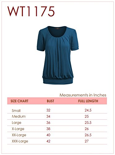 Made By Johnny WT1175 Womens Scoop Neck Short Sleeve Front Pleated Tunic S Navy by Made By Johnny (Image #6)