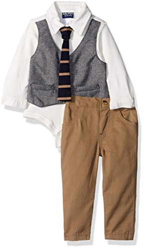 Boyzwear Boys 2 Piece Creeper with Mock Vest and Bow Tie and Pant, White Pattern, 3-6 Months