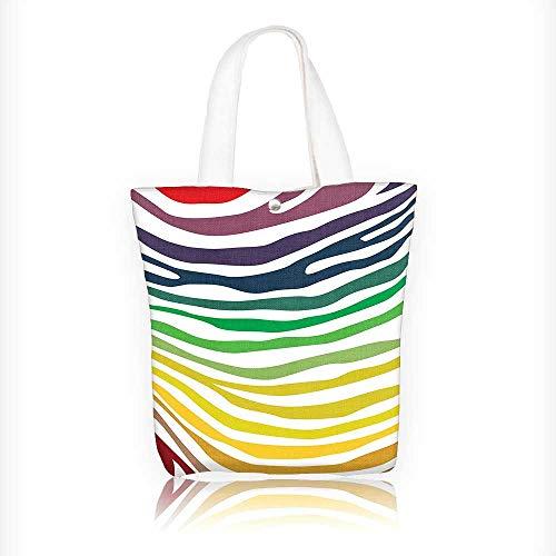 (Canvas Tote Bag Zebra Print Zebra Stripes in Cheering Rainbow Color Style Art Red Yellow Green Hanbag Women Shoulder Bag Fashion Tote Bag W11xH11xD3 INCH)