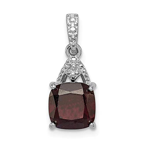 925 Sterling Silver Diamond Red Garnet Cushion Pendant Charm Necklace Gemstone Fine Jewelry For Women Gift Set from ICE CARATS