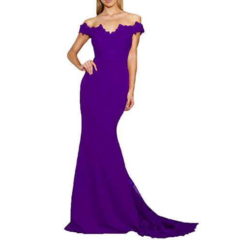 Beauty Bridal Trumpet/Mermaid Party Dress Off-The-Shoulder Court Train Lace Bridesmaid Dresses Long L031 (2,Purple)