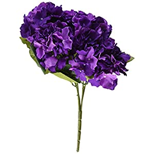 LSD Artificial Silk Fake 5 Heads Flower Bunch Bouquet Home Hotel Wedding Party Garden Floral Decor Hydrangea 10