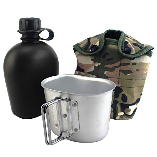 Stainless Steel Army Canteen Kettle Cup Kit, Portable Outdoor Military Tactical Cup & Green Nylon Cover Waist Belt for Camping/Hiking/Travel-CP ()