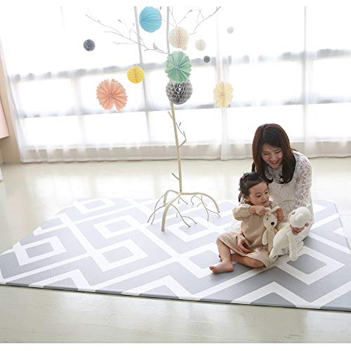 Baby Play Mat Cushion Stylish Floor Foam Mat for Children, Soft Gym Kids Play Mat, Waterproof, Easy to Clean, Soft and Thick, Non Toxic, BPA-Free, Reversible (Daily Diamond and Stripe, 90