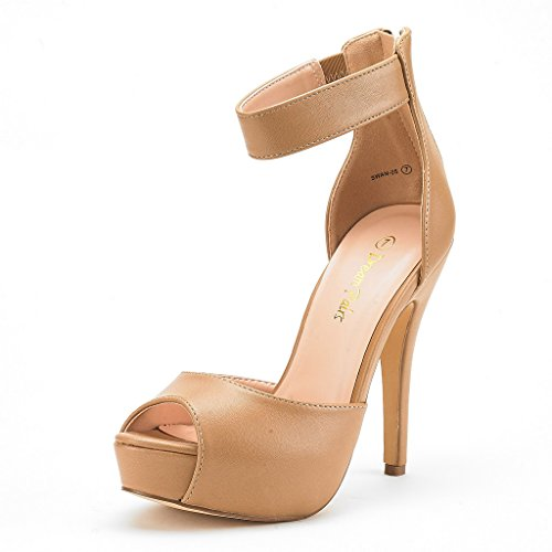 DREAM PAIRS SWAN-05 New Women's Ankle Strap Back Zipper Peep Toe High Heel Platform Pump Shoes,Nude Pu,9 B(M) -