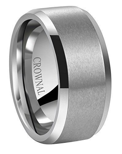 6 Mm Beveled Edge (Crownal 6mm 8mm 10mm Tungsten Carbide Wedding Band Ring for Men Women in Comfort Fit Beveled Edges and Matte Finish Size 5 To 17 (10mm,8))