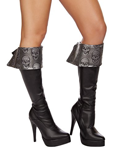 [Roma Costume Women's Skull Embroidered Boot Cuffs Grey, Grey/Black, One Size] (Halloween Accessories Boots)
