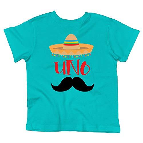1st Birthday Uno Shirt Fiesta Themed First Birthday Sombrero Birthday Shirt Mustache Birthday Outfit for Baby Boy Caribbean Blue Short Sleeve Shirt -