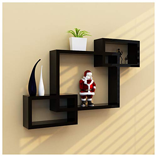 Clearance Sale!DEESEE(TM)Intersecting Boxes Black Red White Decorative Square Wall Shelf Includes Three Square Shelves (Black)]()