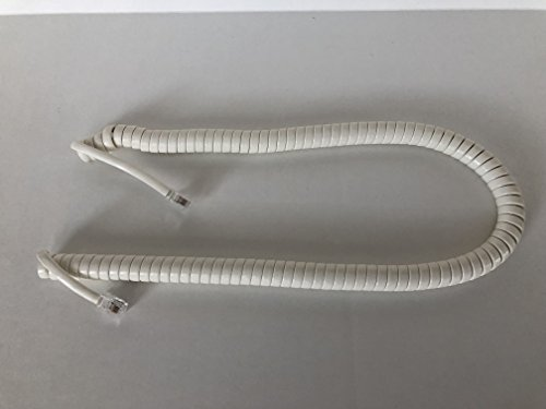 - The VoIP Lounge 12 Foot Off White/Ivory Handset Receiver Curly Coil Phone Cord