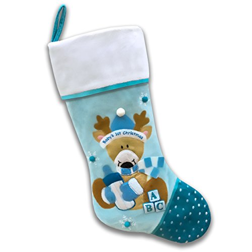 Baby's First Christmas Stocking - Reindeer (Blue)