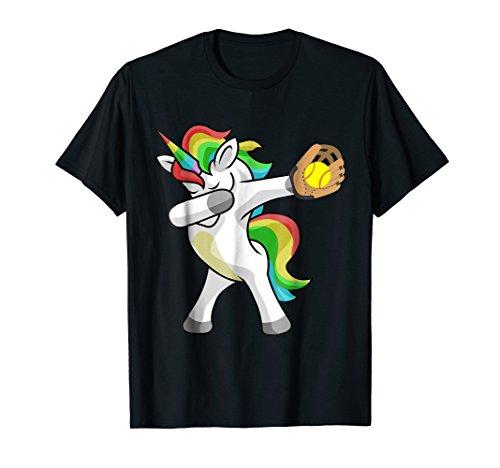 Dabbing Unicorn Softball T-Shirt Funny Dab Gift Shirt