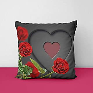 41OyfqYGIsL. SS320 Heart Rose Square Design Printed Cushion Cover